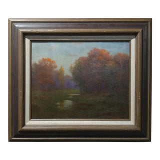 "C1910s Antique Impressionist ""Pond in the Park"" Oil Painting"