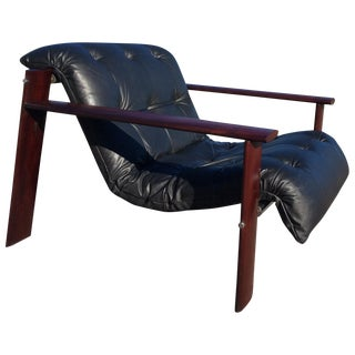 Percival Lafer Rosewood & Leather Loungers - A Pair