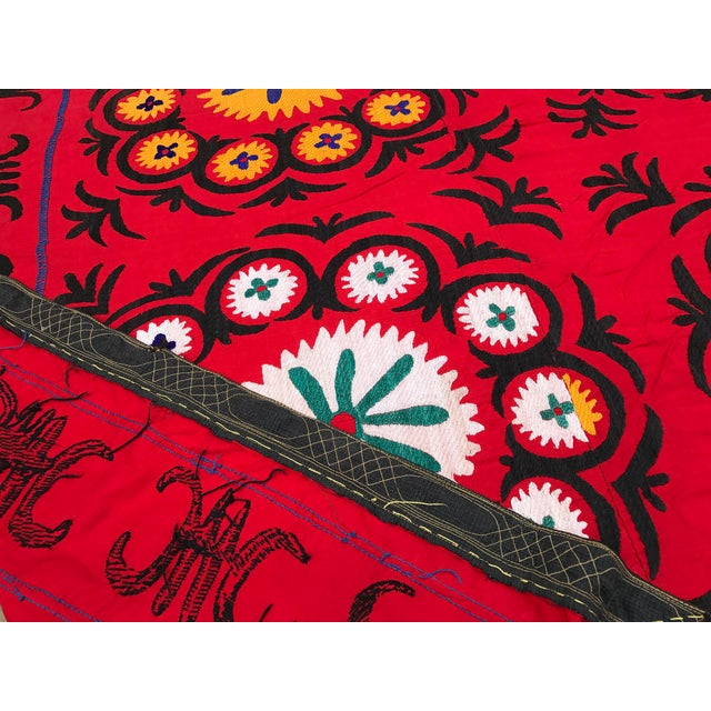 Handmade Red Suzani Textile - Image 4 of 6