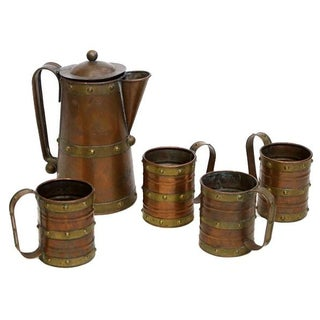 Brass and Copper Pitcher and Mug Set