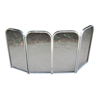 1970s Vintage Milo Baughman Era Folding Chrome Fireplace Screen