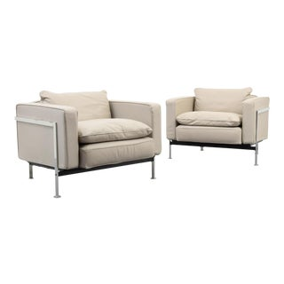 Pair of Robert Haussmann Leather Lounge Chairs