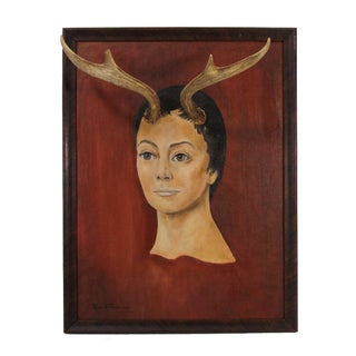 Vintage Art Altered with Antlers
