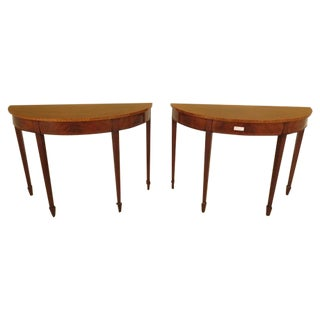 Federal Style Mahogany Demilune Tables - A Pair