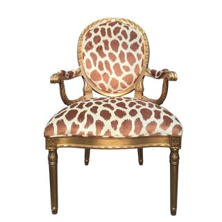 Gilded Arm Chair in Animal Print Velvet