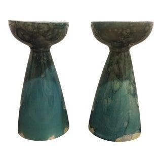 Rustic Turquoise Ceramic Candlesticks - A Pair