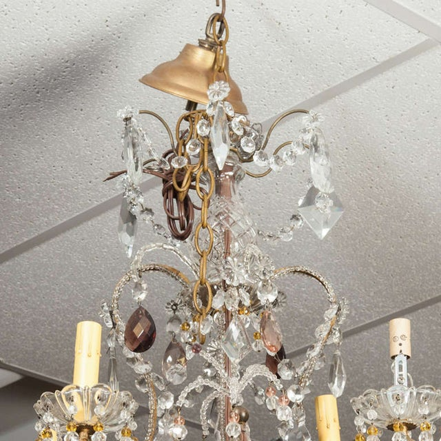 Antique French 4-Light Crystal Beaded Chandelier - Image 6 of 6