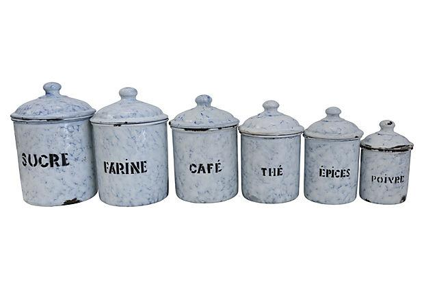 vintage french enamel kitchen canisters s 6 chairish