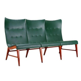 Axel Larsson Mid-Century Modern Wingback Bench ca. 1950