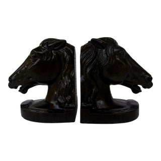 Vintage Metal Stallions Bookends - A Pair