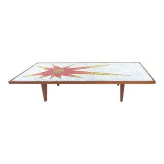 1960s Vintage Sunburst Mosaic Tile Coffee Table