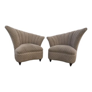 Vintage Fan Back Lounge Chairs - A Pair