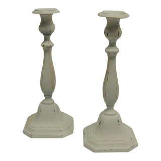 Painted Brass Shabby Chic White Candle Sticks - Pair