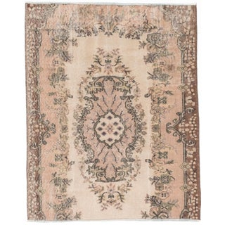 Vintage Distressed Oushak Turkish Kilim Rug - 4′ × 5′