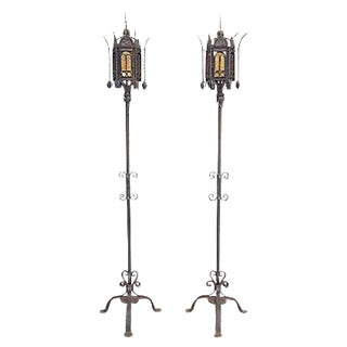 Antique Torchiere Floor Lamps - A Pair