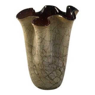 Hand-Blown Marbled Glass Handkerchief Vase by Jozefina Krosno