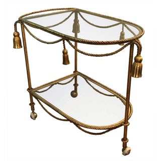 Vintage 1960s Gilded Iron Rope & Tassel Bar Cart