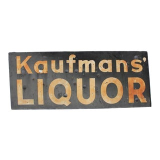 "Vintage Porcelain ""Liquor"" Sign"