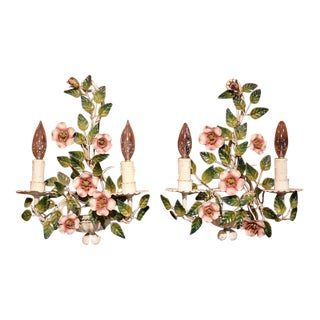 Early 20th Century French Hand-Painted Floral Metal Sconces - A Pair