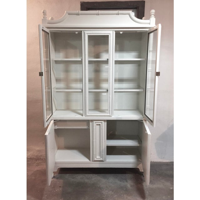 Chinoiserie Faux Bamboo Painted China Cabinet - Image 7 of 10