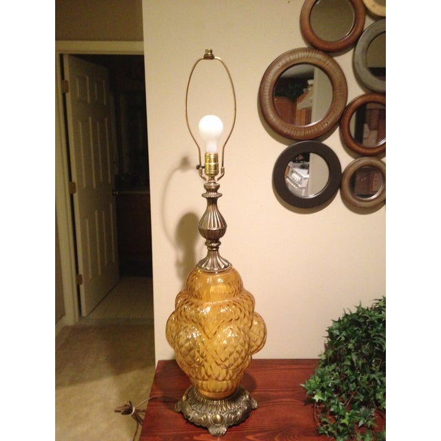 Tall Hollywood Regency Ornate Amber Glass Lamp - Image 2 of 6