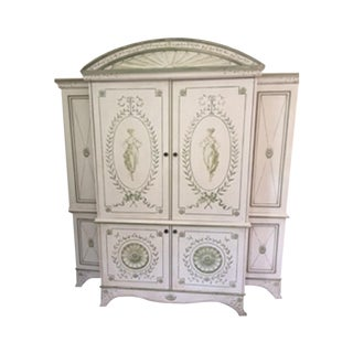 Ivory & Sage Hand-Painted Storage Cabinet