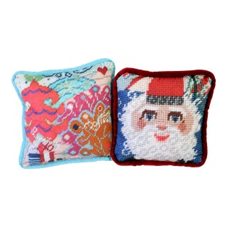 Printed Needlepoint Holiday Pillows - A Pair