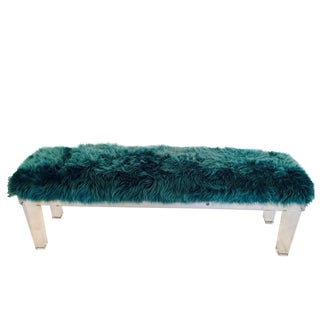 Lucite & Mongolian Fur Upholstered Bench