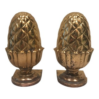 Brass Acorn Bookends - a Pair