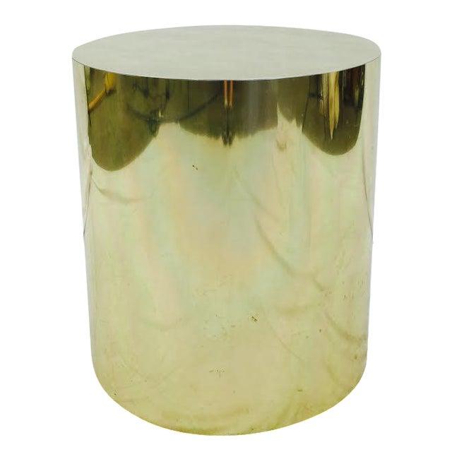 Mid-Century Modern Brass Pedestal Side Table - Image 1 of 4