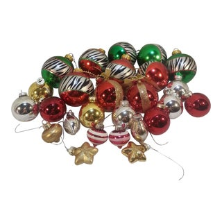 1970s Glass Christmas Ornaments- Set of 26