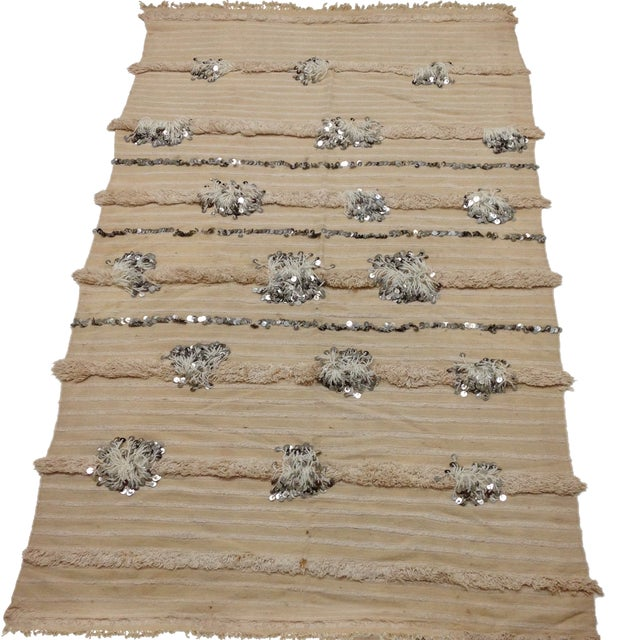 Vintage Moroccan Handira Wedding Blanket - Image 1 of 4