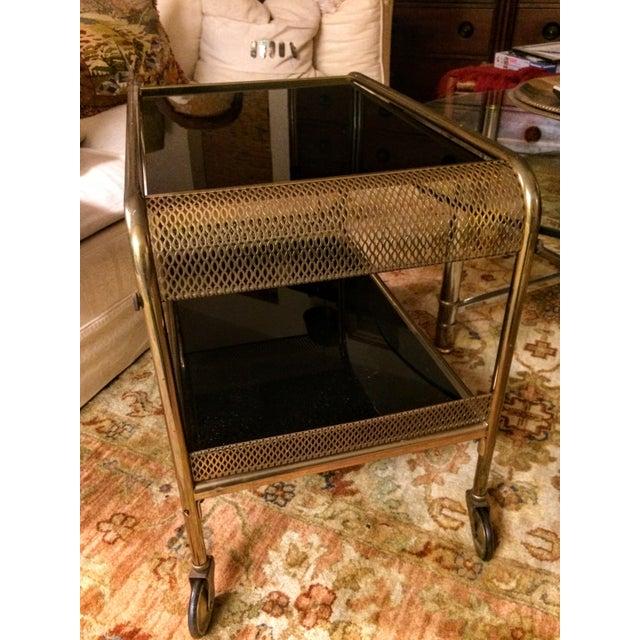 Mid-Century Brass & Black Glass Bar Cart - Image 4 of 11
