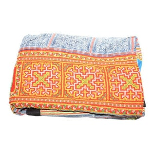 Faded Blue And Orange Hmong Blanket