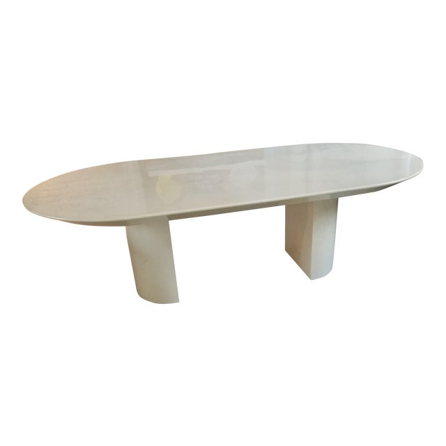 """Knife Edge Dining Table"" in Lacquered Goatskin by Karl Springer - Image 1 of 5"