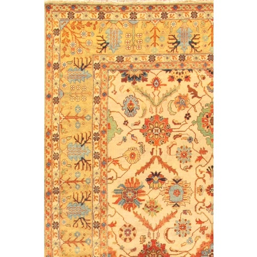 Image of Mahal Hand-Knotted Wool Ivory Area Rug- 12' x 15'