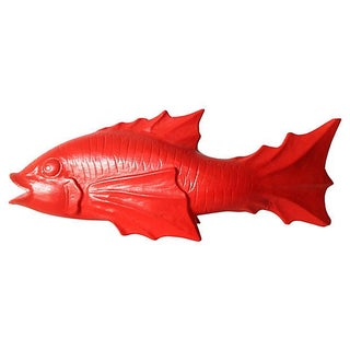 Vintage 1970s Chinese Red Lacquered Fish