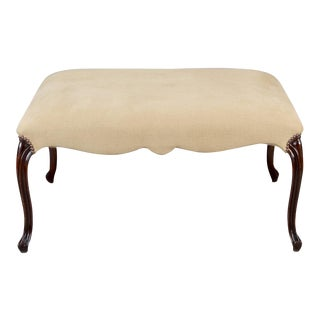 French 19th Century Large Square Upholstered Stool with Walnut Legs