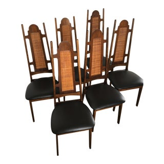 Mid-Century High Back Dining Chairs - Set of 6
