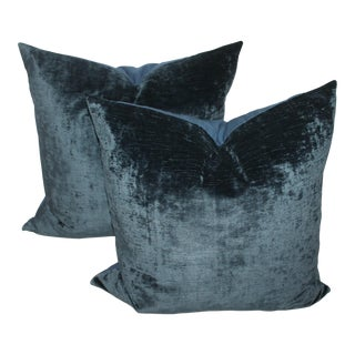 Pair fof Indigo Velvet Pillows