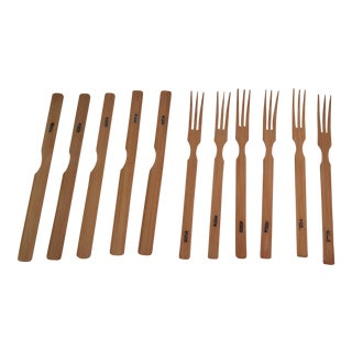 Vintage Japanese Bamboo Knives & Forks - Set of 11