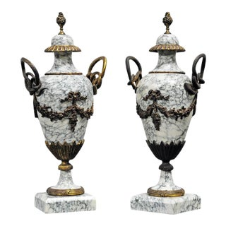 Pair of 19th Century French Marble Garniture