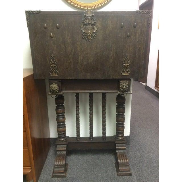 Antique Spindle Leg Ornate Metal Secretary Desk | Chairish