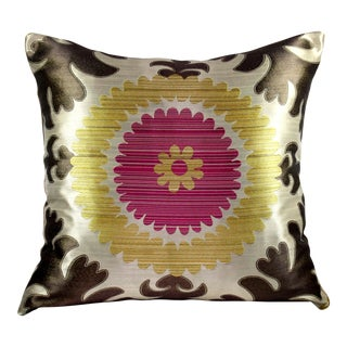 Donghia Silk & Velvet Suzani Accent Pillow
