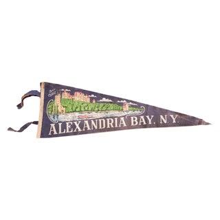 Vintage Alexandria Bay NY Boldt Castle Felt Flag