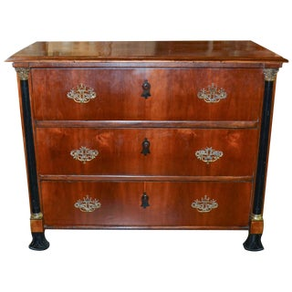 19th C. Continental Mahogany & Ebonized Commode
