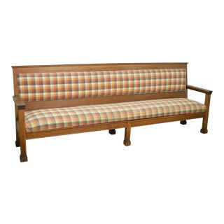 Antique 9 ft Long Solid Oak Settee Bench