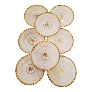 Vintage White & Gold Minton Dessert Plates - Set of 8