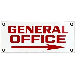 Vintage PorcelainEnamel Metal Sign: General Office