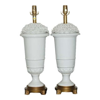 Marbro Blanc de Chine Flowered Vintage Lamps